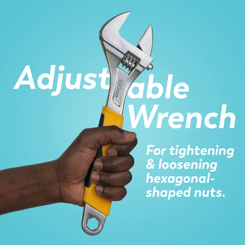 Plumbing tools: adjustable wrench for tightening and loosening hexagonal-shaped nuts