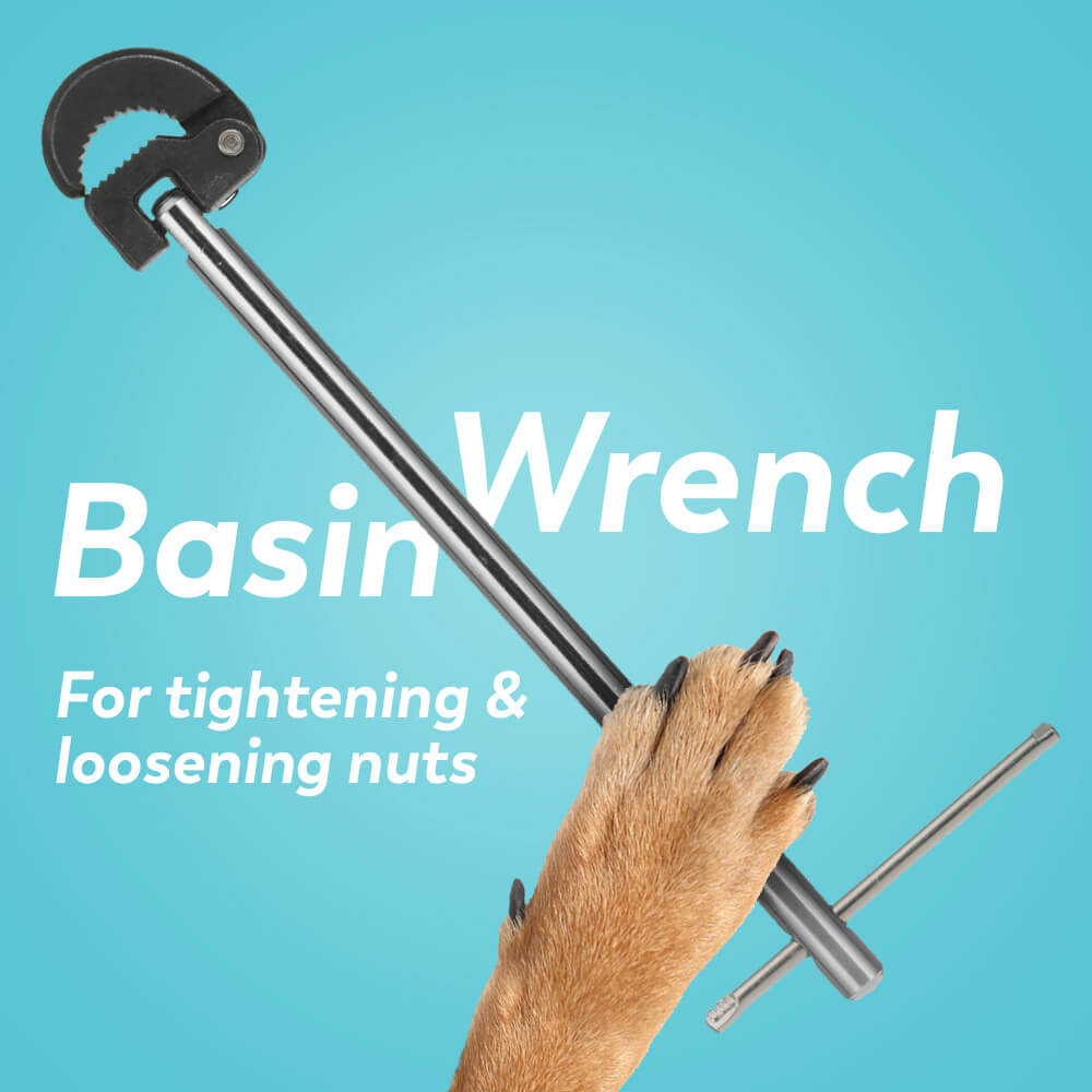 Plumbing tools: basin wrench for tightening and loosening nuts