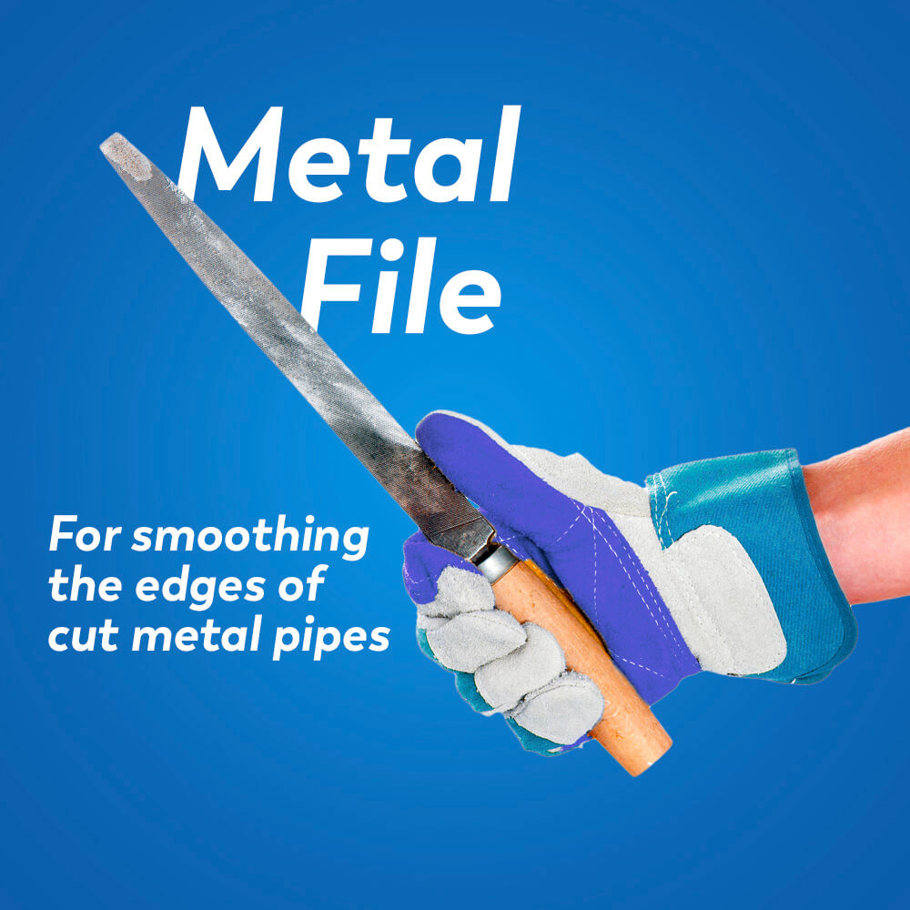 Plumbing tools: metal file for smoothing the edges of cut metal pipes