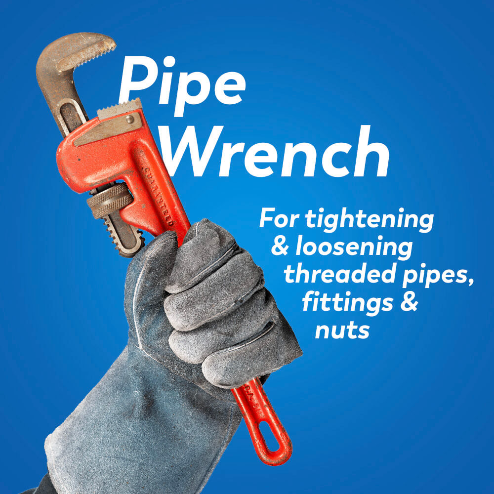 Plumbing tools: pipe wrench for tightening and loosening threaded pipes, fittings, and nuts